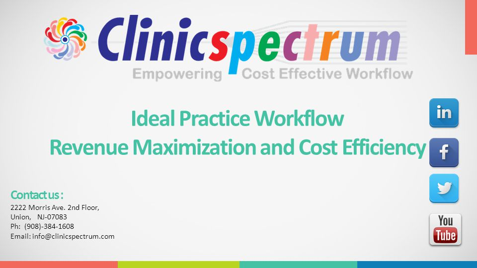 Ideal Practice Workflow Revenue Maximization and Cost Efficiency Contact us : 2222 Morris Ave. 2nd Floor, Union, NJ-07083 Ph: (908)-384-1608 Email: in