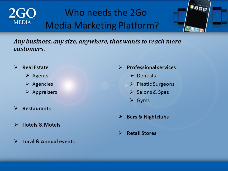 Who needs the 2Go Media Marketing Platform.