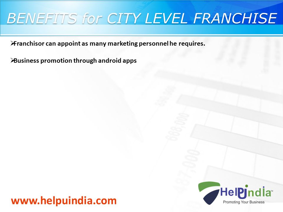 BENEFITS for CITY LEVEL FRANCHISE  Franchisor can appoint as many marketing personnel he requires.  Business promotion through android apps
