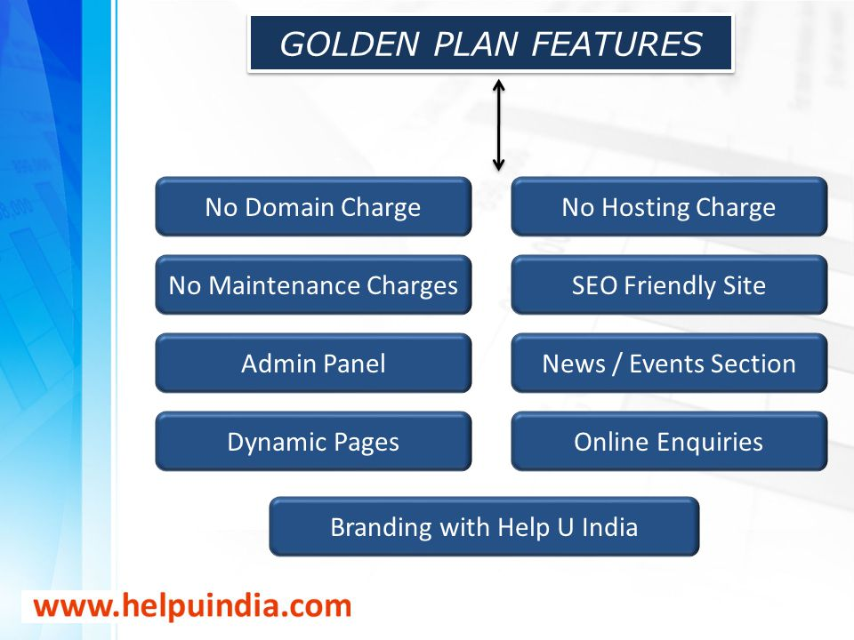 GOLDEN PLAN FEATURES No Domain ChargeNo Hosting Charge No Maintenance ChargesSEO Friendly Site Admin PanelNews / Events Section Dynamic PagesOnline En