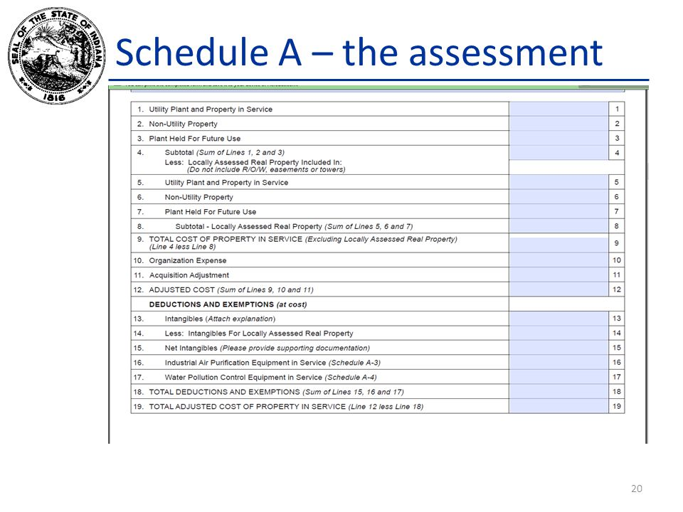 Schedule A – the assessment 20