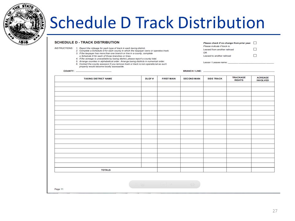 Schedule D Track Distribution 27