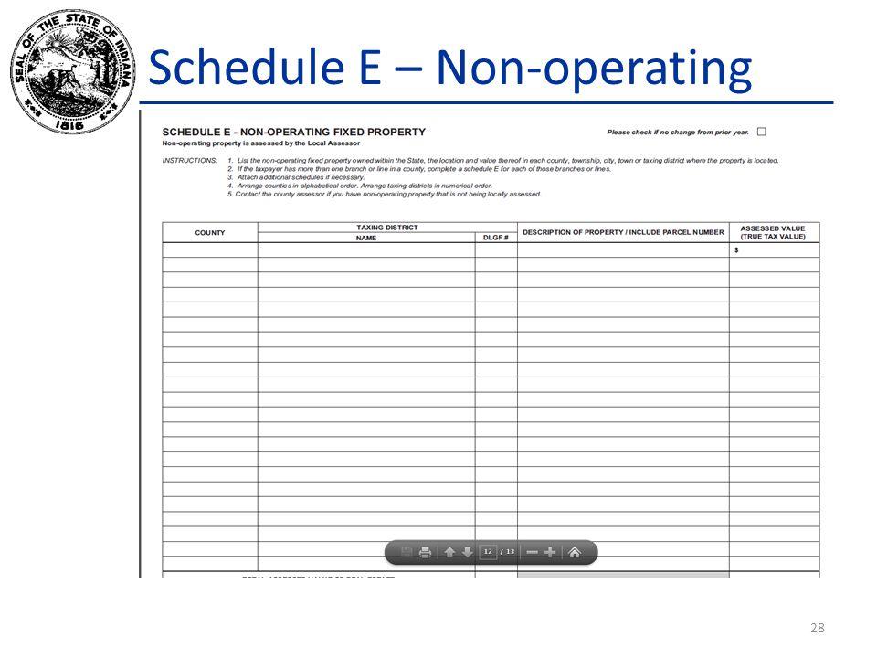 Schedule E – Non-operating 28