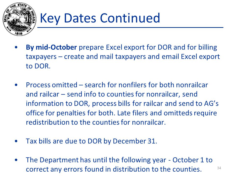 Key Dates Continued By mid-October prepare Excel export for DOR and for billing taxpayers – create and mail taxpayers and email Excel export to DOR.