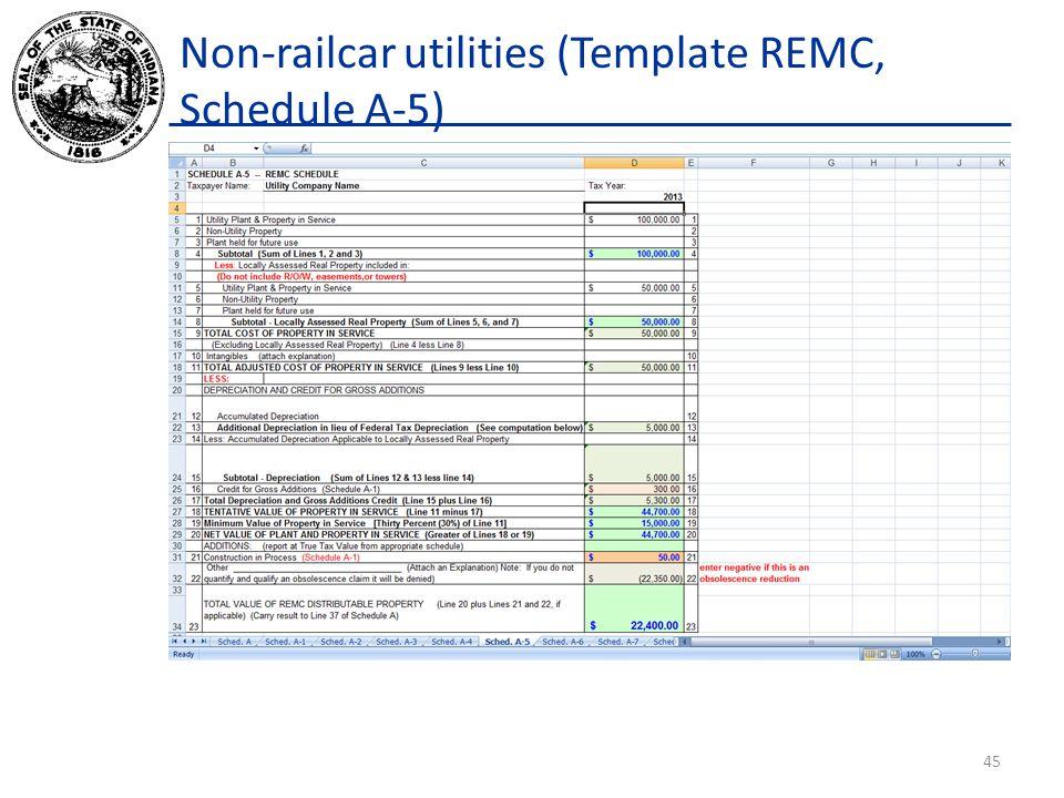 Non-railcar utilities (Template REMC, Schedule A-5) 45