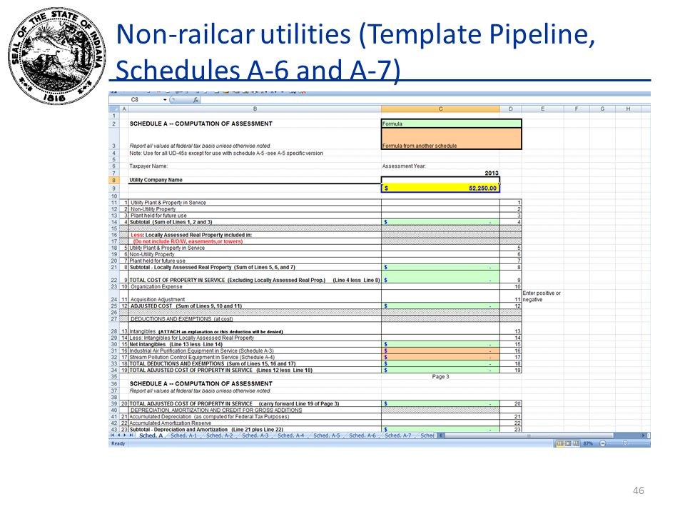 Non-railcar utilities (Template Pipeline, Schedules A-6 and A-7) 46