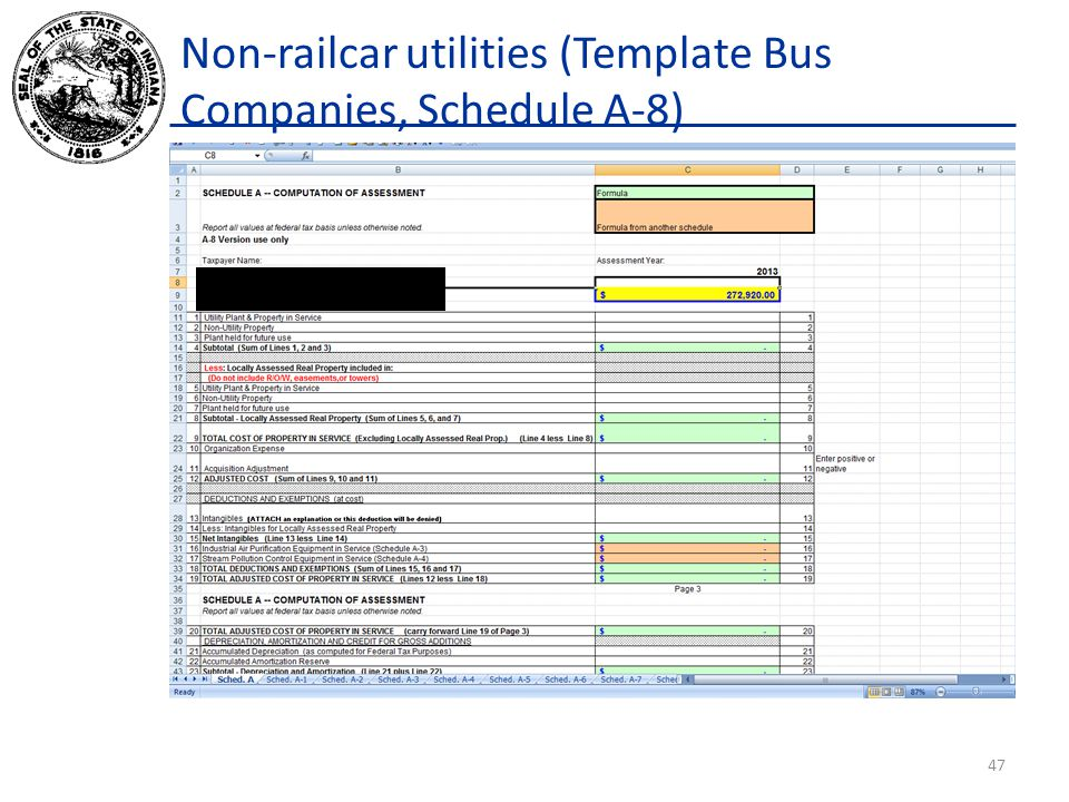 Non-railcar utilities (Template Bus Companies, Schedule A-8) 47