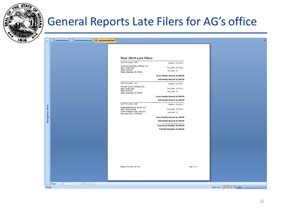 General Reports Late Filers for AG's office 55