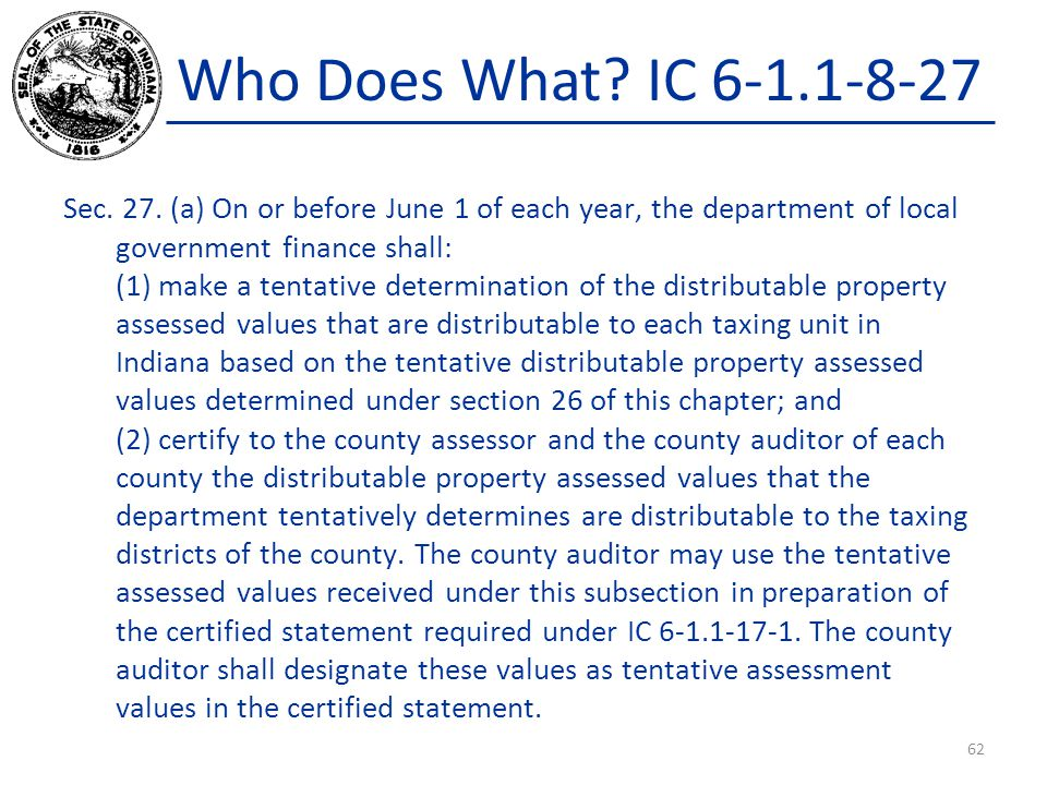 Who Does What? IC 6-1.1-8-27 Sec. 27. (a) On or before June 1 of each year, the department of local government finance shall: (1) make a tentative det