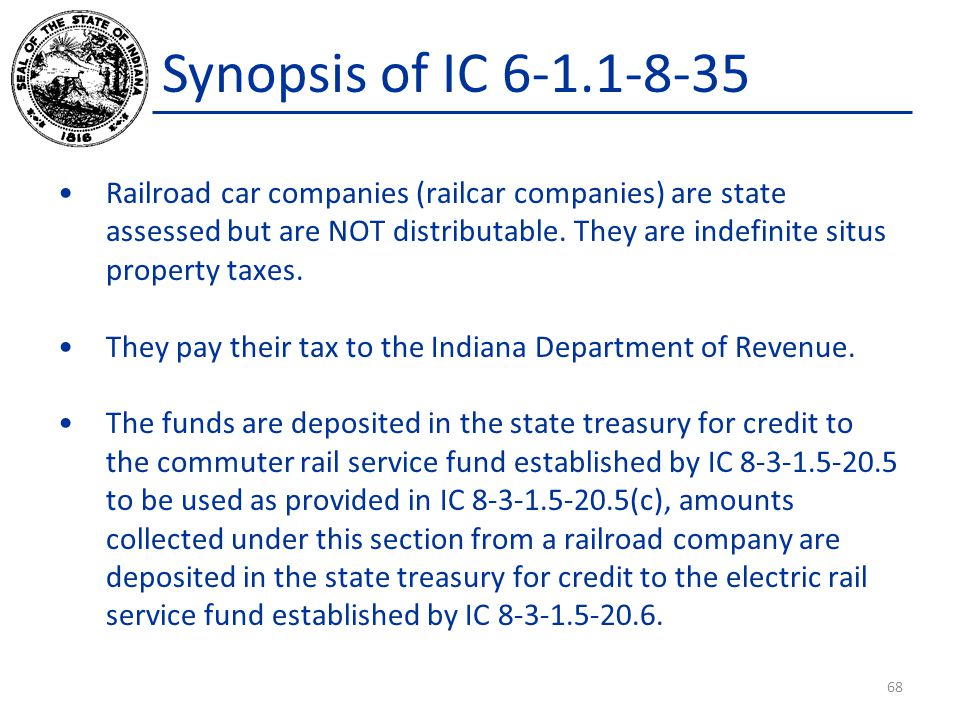 Synopsis of IC 6-1.1-8-35 Railroad car companies (railcar companies) are state assessed but are NOT distributable.