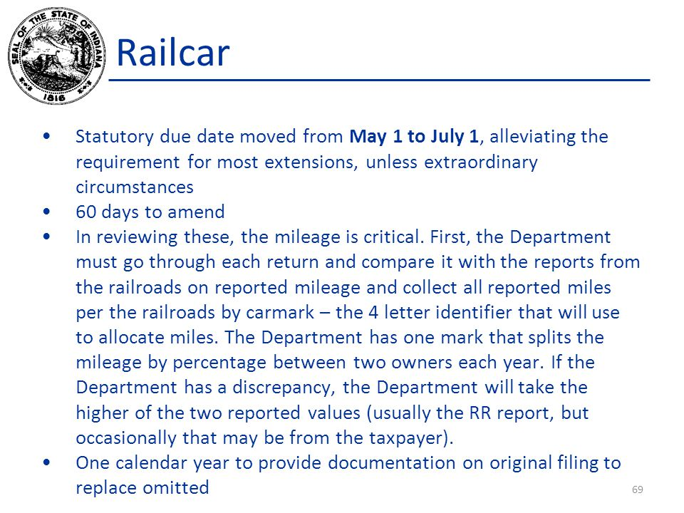 Railcar Statutory due date moved from May 1 to July 1, alleviating the requirement for most extensions, unless extraordinary circumstances 60 days to amend In reviewing these, the mileage is critical.
