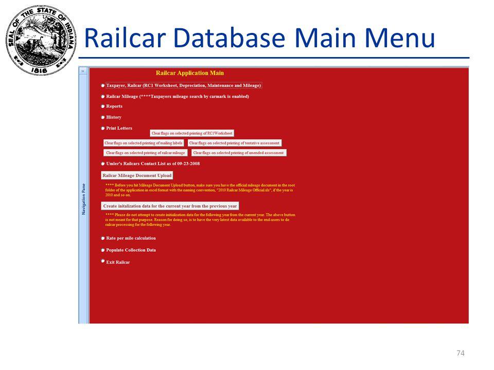Railcar Database Main Menu 74