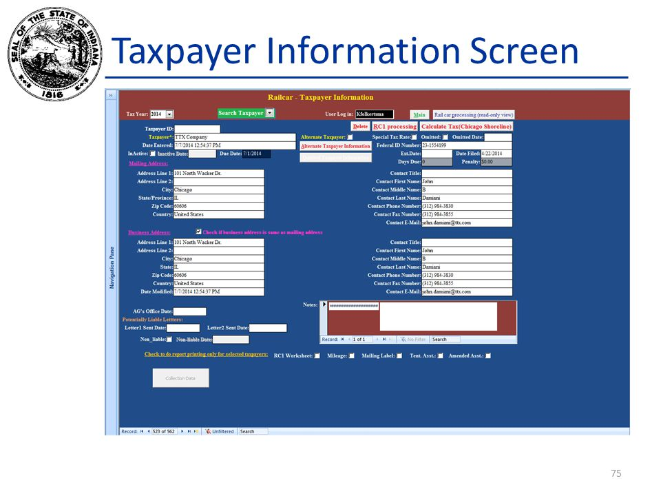 Taxpayer Information Screen 75