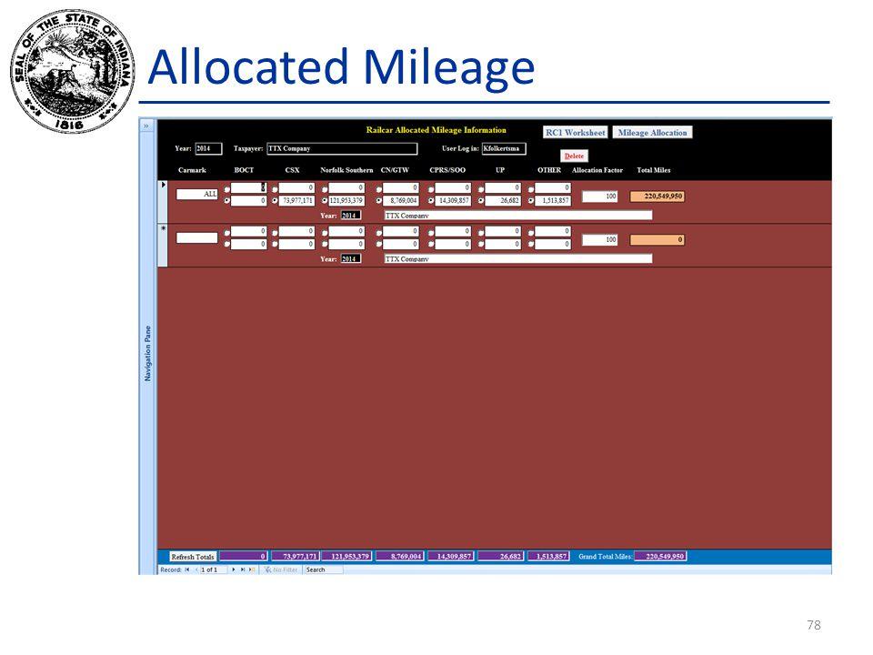 Allocated Mileage 78
