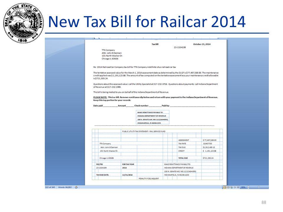 New Tax Bill for Railcar 2014 88