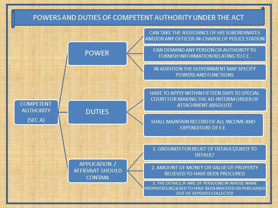 COMPETENT AUTHORITY (SEC.4) POWER CAN TAKE THE ASSISTANCE OF HIS SUBORDINATES AND/OR ANY OFFICER-IN-CHARGE OF POLICE STATION CAN DEMAND ANY PERSON OR AUTHORITY TO FURNISH INFORMATION RELATING TO F.E.