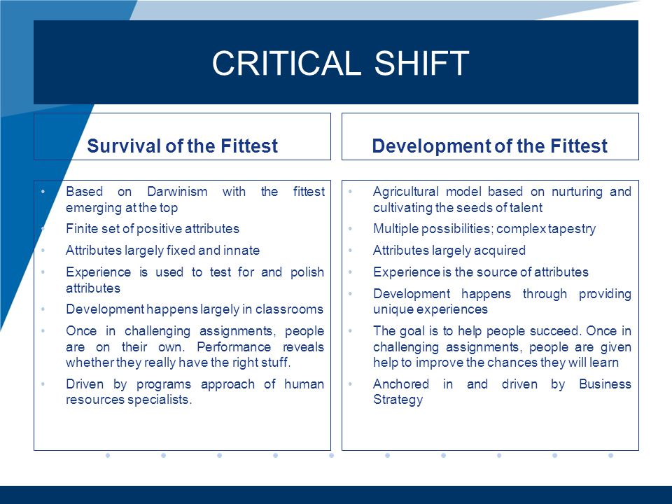 www.company.com CRITICAL SHIFT Survival of the Fittest Based on Darwinism with the fittest emerging at the top Finite set of positive attributes Attri