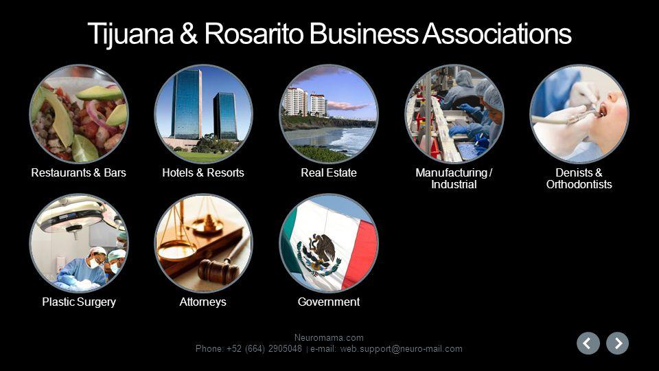 Neuromama.com Phone: +52 (664) 2905048 | e-mail: web.support@neuro-mail.com Restaurants & Bars Hotels & ResortsReal EstateManufacturing / Industrial P