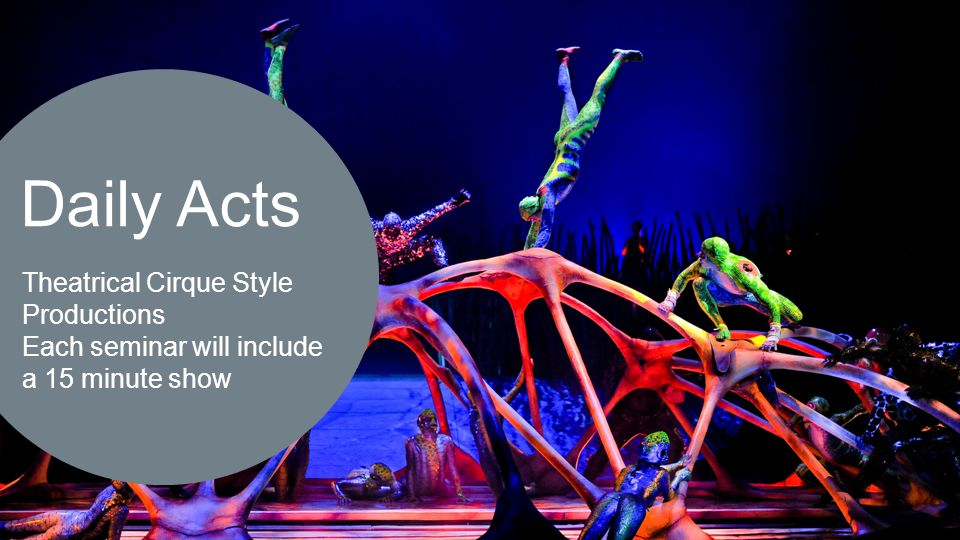  Daily Acts Theatrical Cirque Style Productions Each seminar will include a 15 minute show