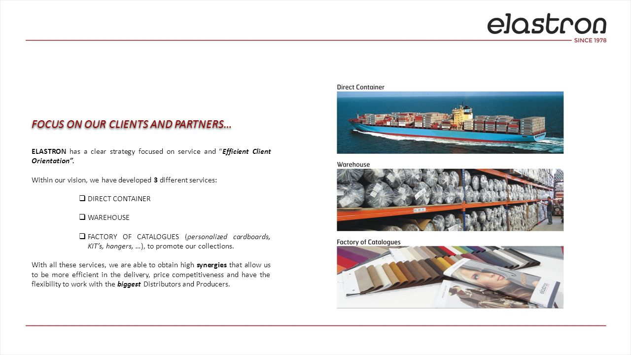  DIRECT CONTAINER This service is characterized by:  Leadership on several European countries with this service.