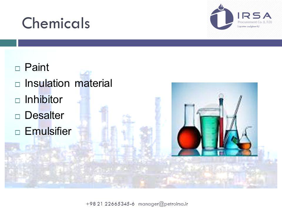 Chemicals  Paint  Insulation material  Inhibitor  Desalter  Emulsifier +98 21 22665345-6 manager@petroirsa.ir