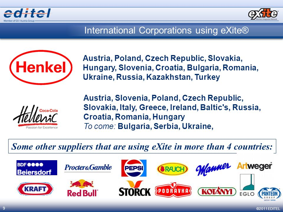 ©2011 EDITEL 9 International Corporations using eXite® Austria, Poland, Czech Republic, Slovakia, Hungary, Slovenia, Croatia, Bulgaria, Romania, Ukraine, Russia, Kazakhstan, Turkey Austria, Slovenia, Poland, Czech Republic, Slovakia, Italy, Greece, Ireland, Baltic s, Russia, Croatia, Romania, Hungary To come: Bulgaria, Serbia, Ukraine, Some other suppliers that are using eXite in more than 4 countries: