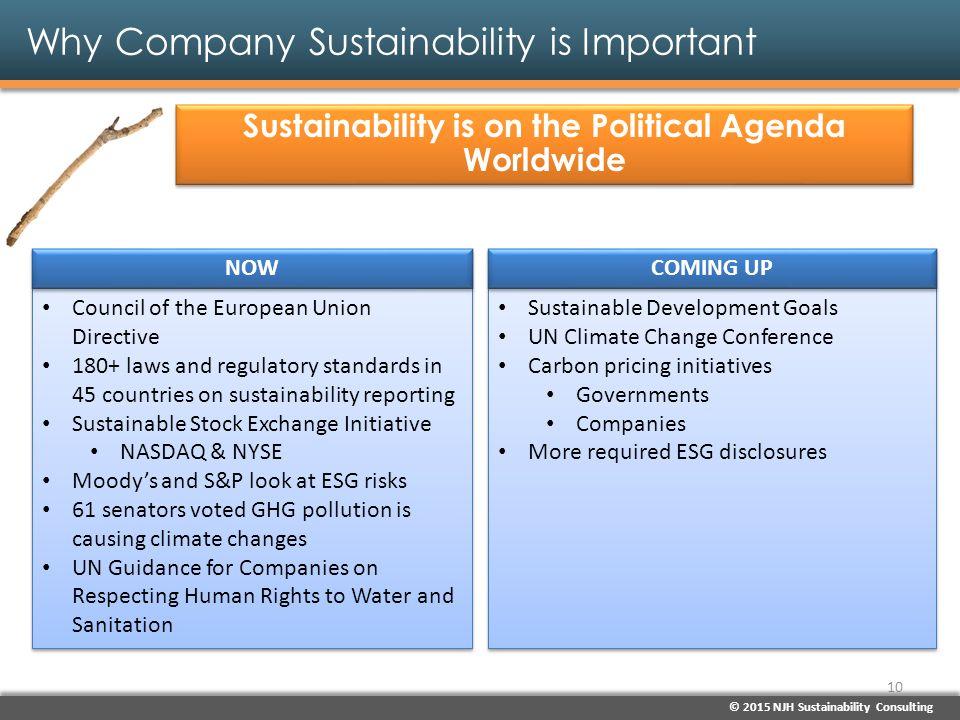 © 2015 NJH Sustainability Consulting Why Company Sustainability is Important Sustainability is on the Political Agenda Worldwide Sustainable Developme