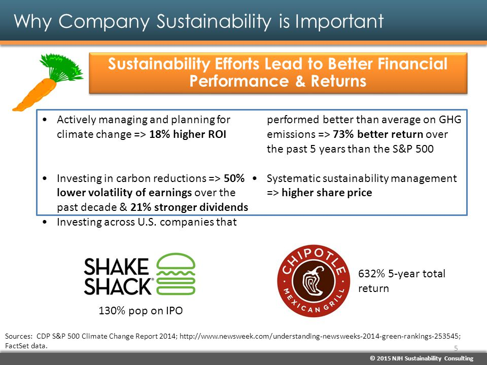 © 2015 NJH Sustainability Consulting Why Company Sustainability is Important Sustainability Efforts Drive Consumer Support and Reputation Enhancement Firms with better CSR reputations have a much higher ability to foster desired supportive behaviors among consumers. One of the more significant indicators of public confidence in a company is its commitment to sustainability and its efforts to communicate and deliver on that commitment. Sources: 2014 CSR RepTrak Study; Technomic ( Building a Better Foodservice Business through Sustainable and Responsible Practices ), Feb.