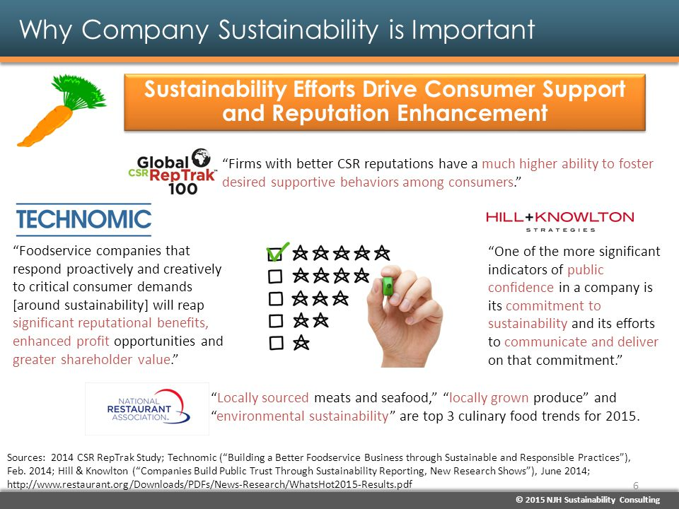 © 2015 NJH Sustainability Consulting Why Company Sustainability is Important Sustainability Efforts Drive Consumer Support and Reputation Enhancement