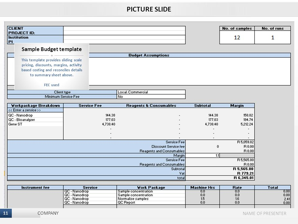 11 I NAME OF PRESENTER 11 COMPANY PICTURE SLIDE This template provides sliding scale pricing, discounts, margins, activity based costing and reconciles details to summary sheet above.