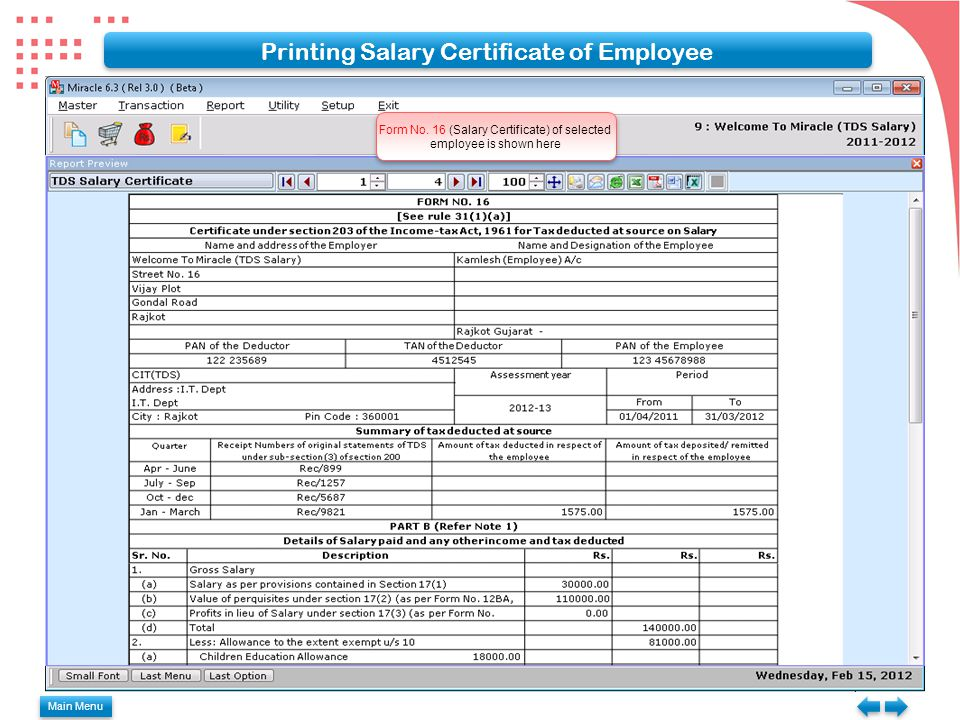 Printing Salary Certificate of Employee Form No.