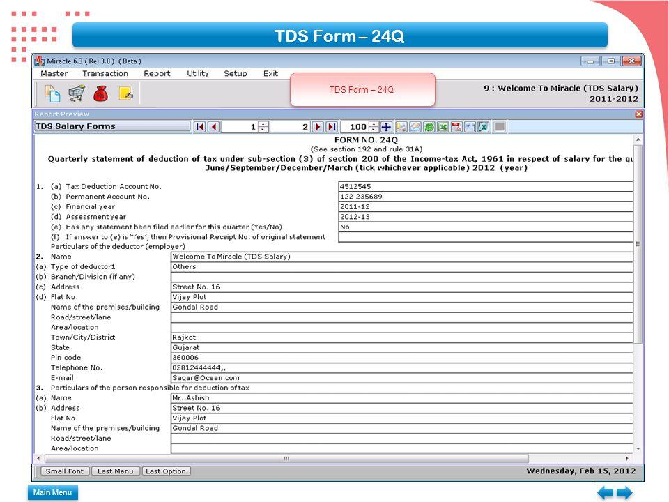 TDS Form – 24Q Main Menu