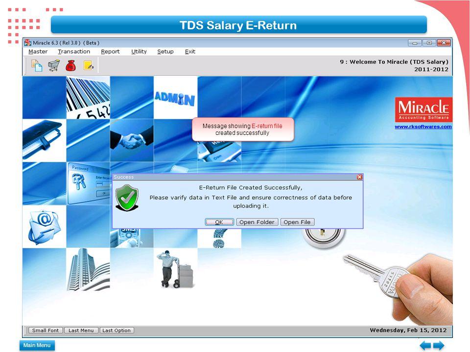 TDS Salary E-Return Message showing E-return file created successfully Main Menu
