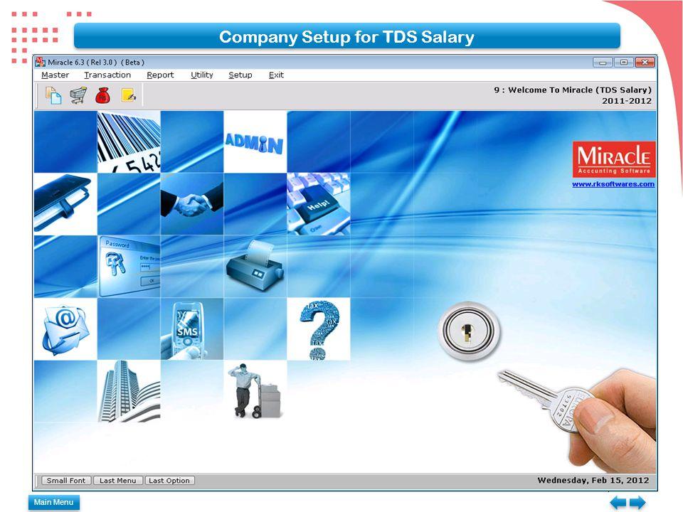 Main Menu Company Setup for TDS Salary