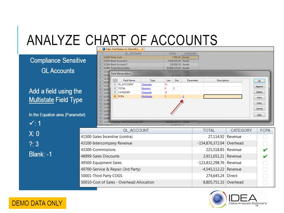 ANALYZE CHART OF ACCOUNTS Compliance Sensitive GL Accounts Add a field using the Multistate Field Type In the Equation area (Parameter) : 1 X: 0 ?: 3