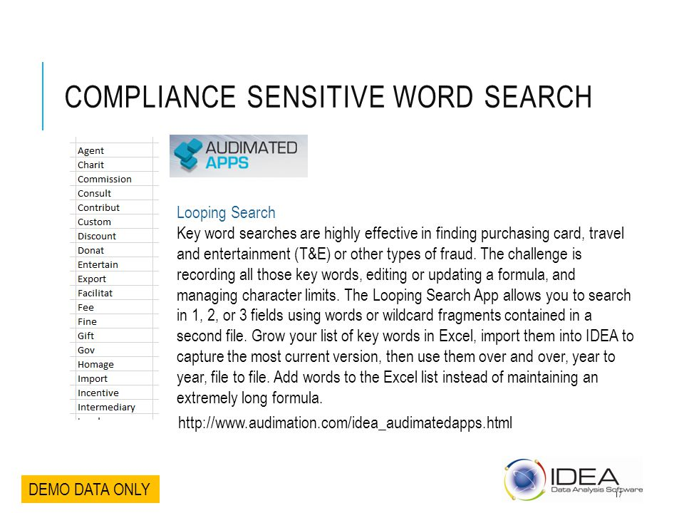 COMPLIANCE SENSITIVE WORD SEARCH DEMO DATA ONLY Looping Search Key word searches are highly effective in finding purchasing card, travel and entertain