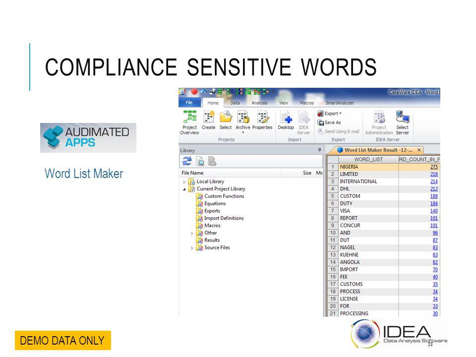 COMPLIANCE SENSITIVE WORDS DEMO DATA ONLY Word List Maker 20
