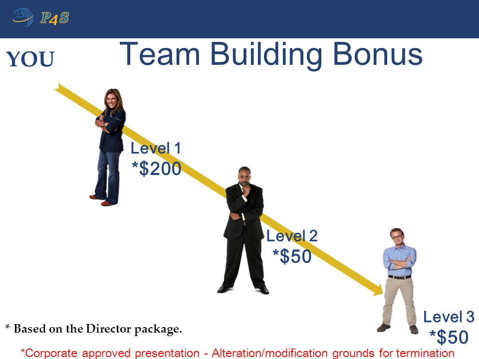 Team Building Bonus Level 1 *$200 Level 2 *$50 Level 3 *$50 * Based on the Director package. YOU *Corporate approved presentation - Alteration/modific
