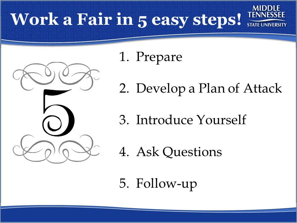 Work a Fair in 5 easy steps.