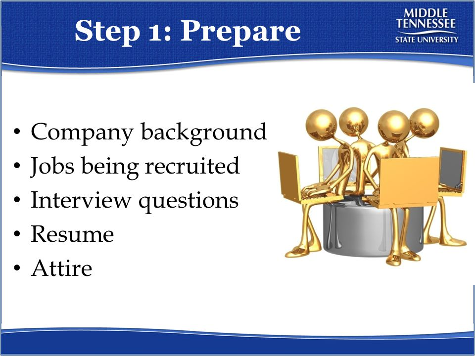 Step 1: Prepare Company background Jobs being recruited Interview questions Resume Attire