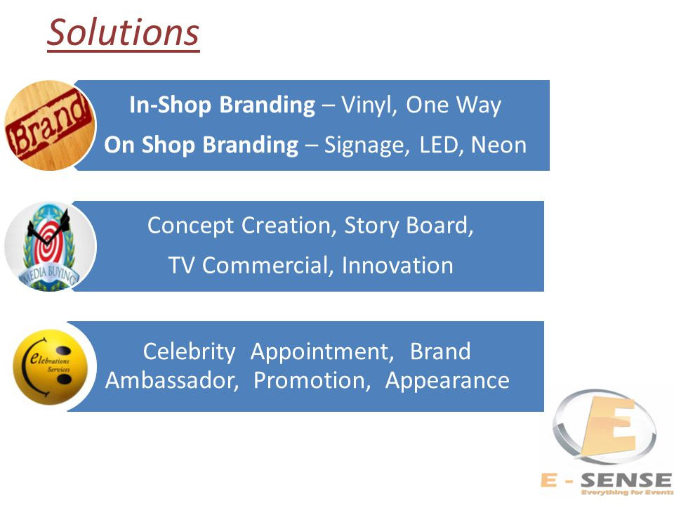 In-Shop Branding – Vinyl, One Way On Shop Branding – Signage, LED, Neon Concept Creation, Story Board, TV Commercial, Innovation Celebrity Appointment, Brand Ambassador, Promotion, Appearance Solutions