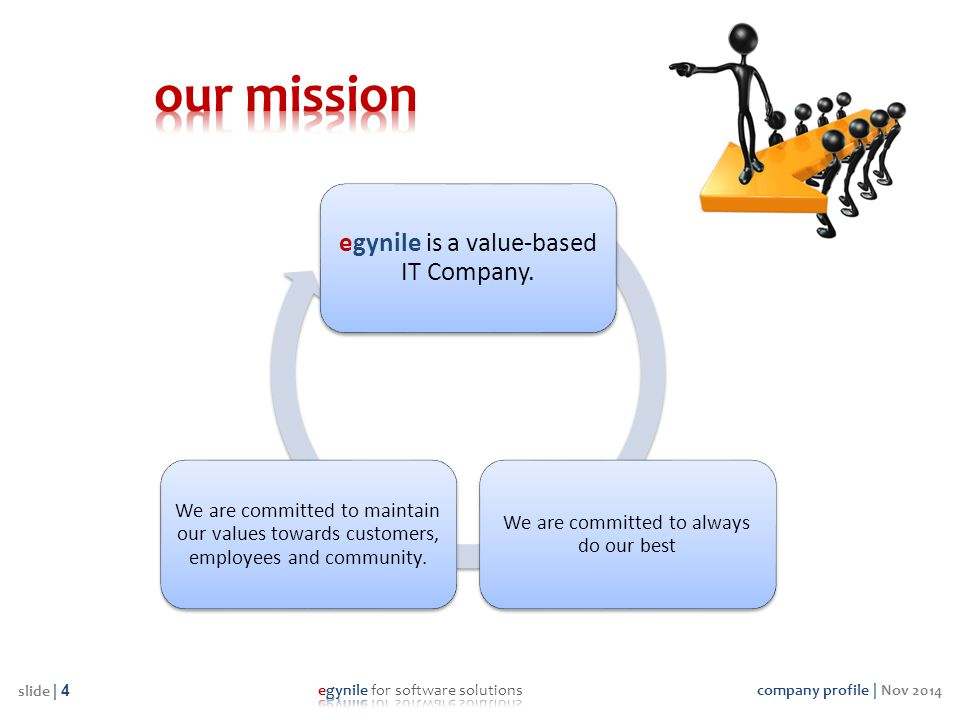 company profile | Nov 2014 slide | 4 egynile is a value-based IT Company. We are committed to always do our best We are committed to maintain our valu