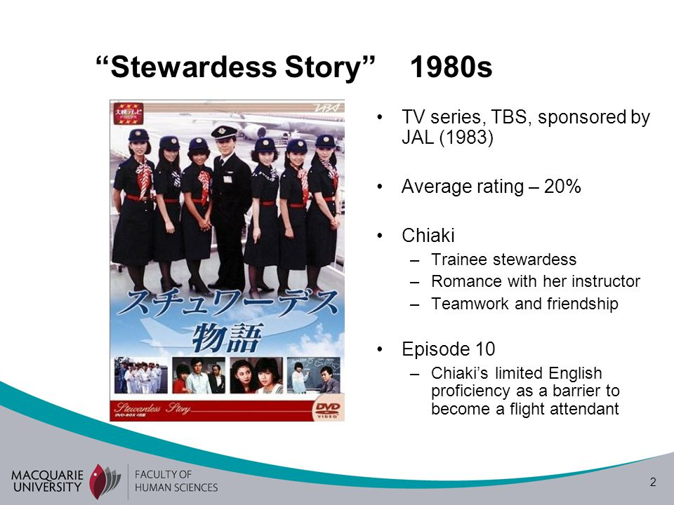 "2 ""Stewardess Story"" 1980s TV series, TBS, sponsored by JAL (1983) Average rating – 20% Chiaki –Trainee stewardess –Romance with her instructor –Teamw"