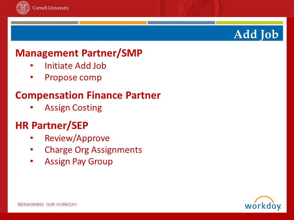 REIMAGINING OUR WORKDAY Add Job Management Partner/SMP Initiate Add Job Propose comp Compensation Finance Partner Assign Costing HR Partner/SEP Review/Approve Charge Org Assignments Assign Pay Group
