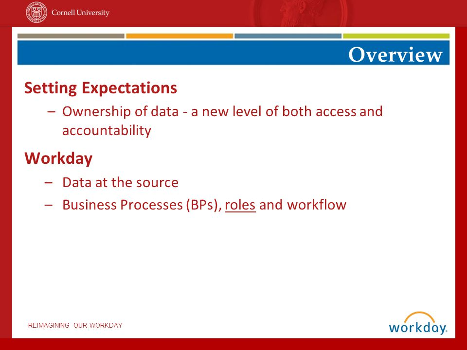 REIMAGINING OUR WORKDAY Setting Expectations –Ownership of data - a new level of both access and accountability Workday –Data at the source –Business Processes (BPs), roles and workflow Overview