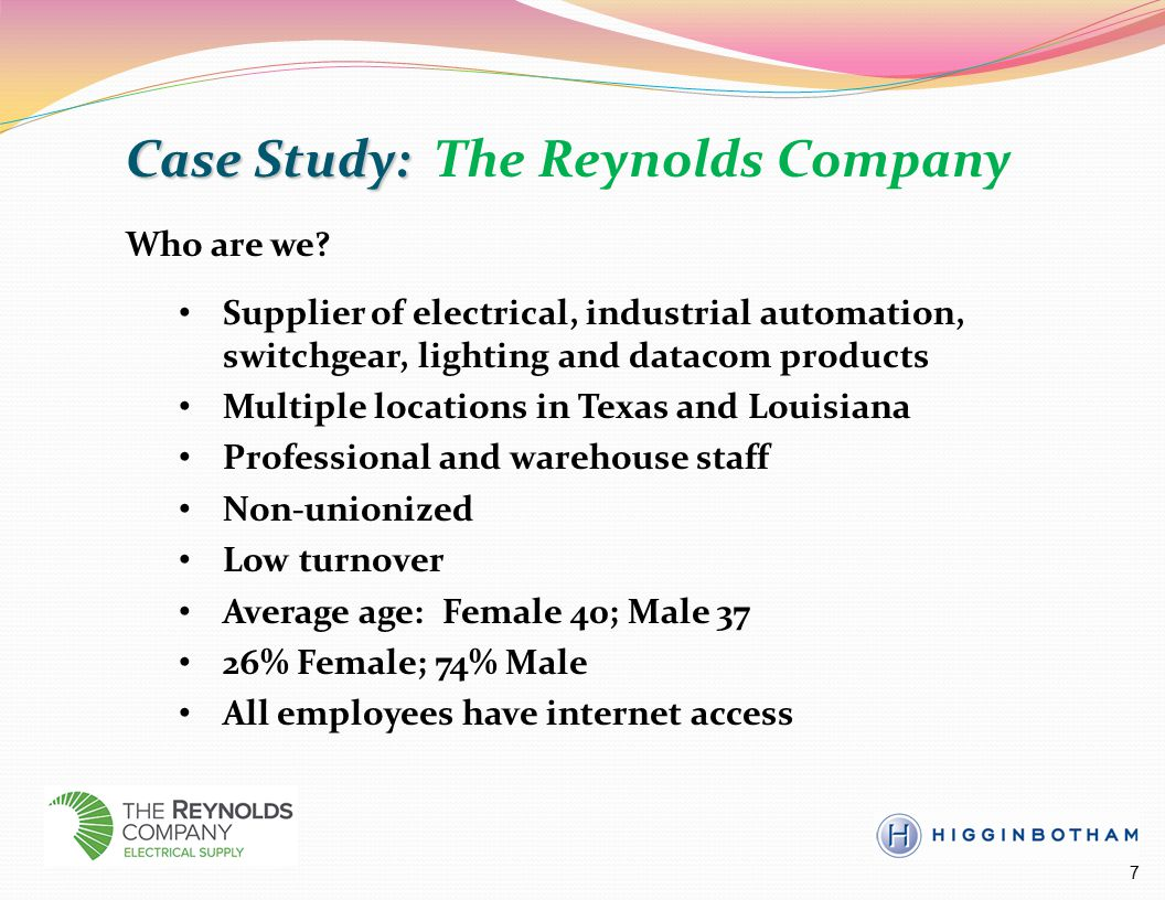 Case Study: Case Study: The Reynolds Company Who are we.