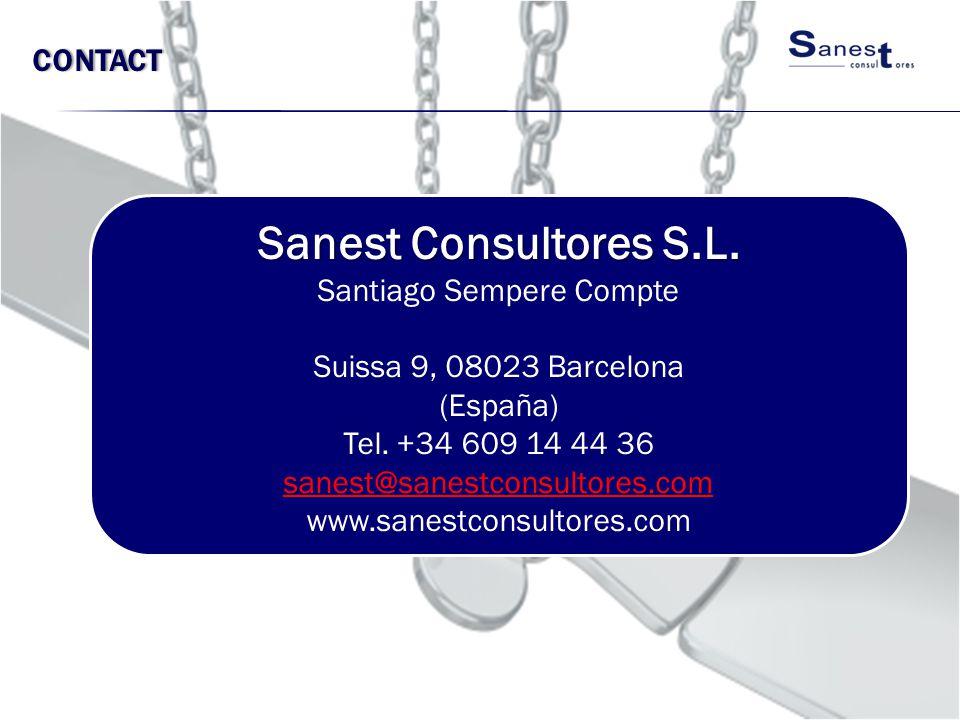 CONTACT Sanest Consultores S.L. Santiago Sempere Compte Suissa 9, 08023 Barcelona (España) Tel. +34 609 14 44 36 sanest@sanestconsultores.com www.sane
