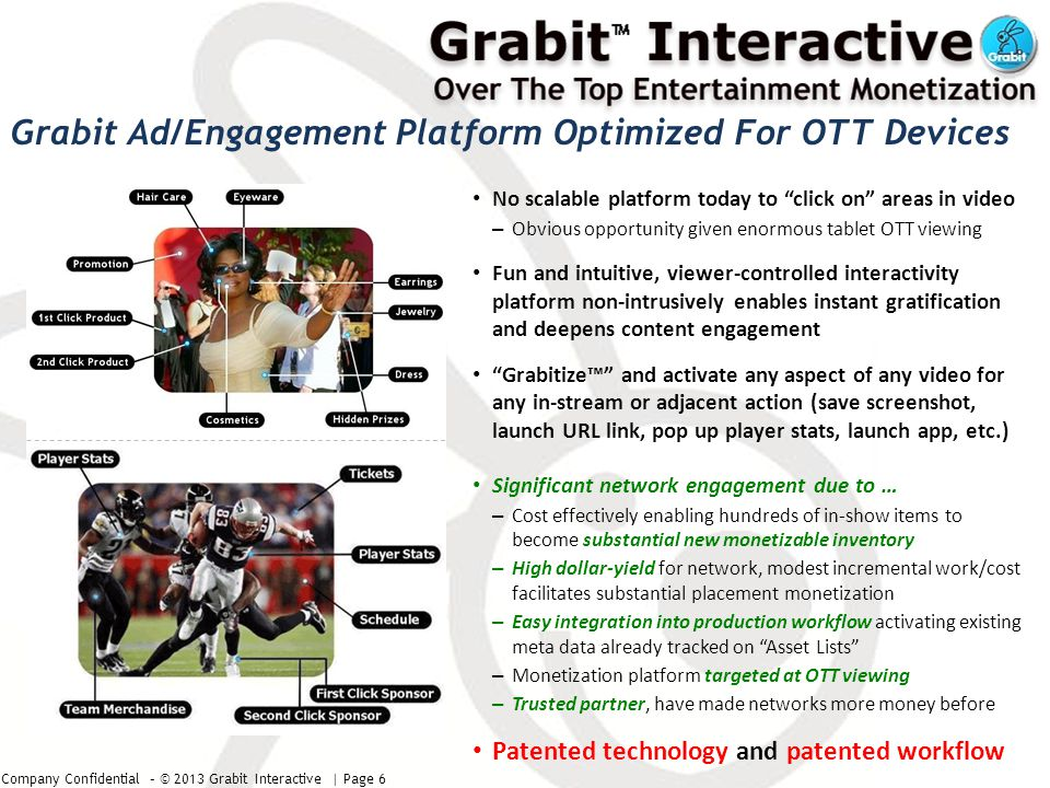 Company Confidential – © 2013 Grabit Interactive | Page 7 Seek $1-2m funding -More funding enables sports engagements, more resources, faster progress Will launch two pilots in second quarter following funding Usage metrics and analytics compiled shortly after launch Will sign 5+ additional pilots prior to next funding round -Preliminary to advanced discussions with 10-15 other US/Euro networks Three proof of concepts complete, funded by ABC, CBS, Sony Music -Demos available to be shown in person Engineering/launch team in place -Same seasoned team as on prior innovations In progress on launch technical milestones for NBC, ESPN, CBS pilots -Partners require funding prior to launch Status Milestones Current Status/Milestones