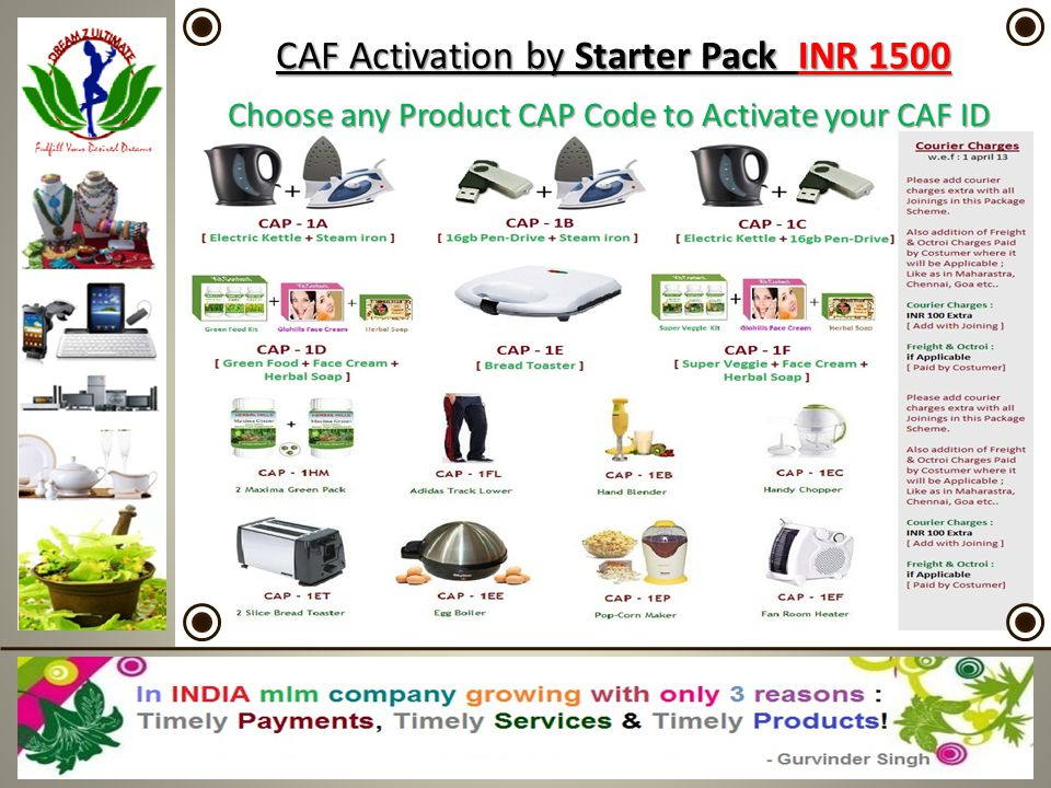 CAF CAF Activation by Starter Pack Pack INR 1500 Choose any Product CAP Code to Activate your CAF ID