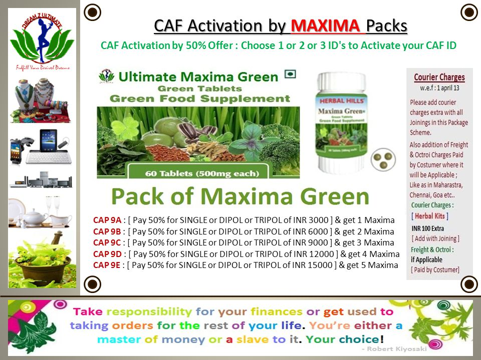 CAF CAF Activation by MAXIMA Packs CAF Activation by 50% Offer : Choose 1 or 2 or 3 ID's to Activate your CAF ID CAP 9A : [ Pay 50% for SINGLE or DIPO
